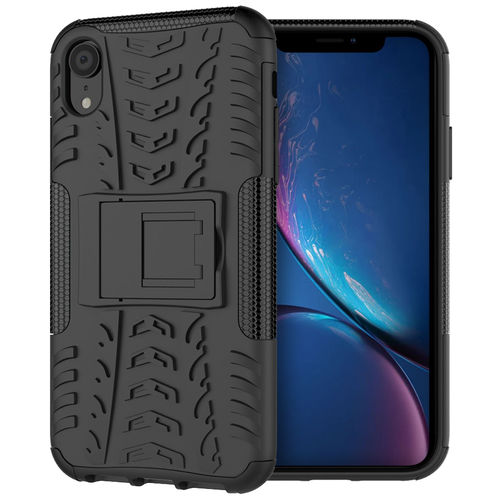 Dual Layer Rugged Tough Shockproof Case for Apple iPhone Xr - Black